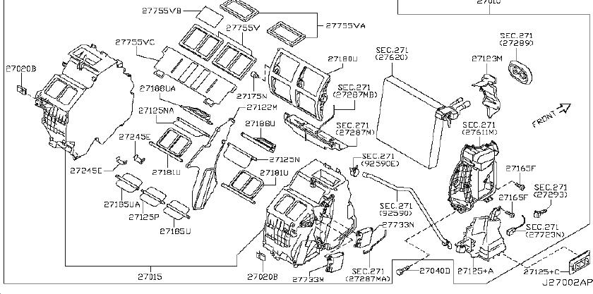2009 INFINITI G37 SEDAN PREMIUM Blower assy-front. Heater