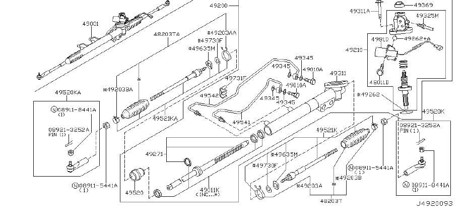 INFINITI M45 Rack and Pinion Inner Tie Rod Lock Washer