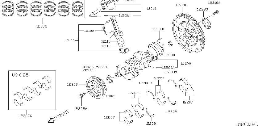 INFINITI M45 Engine Crankshaft Thrust Washer (Lower