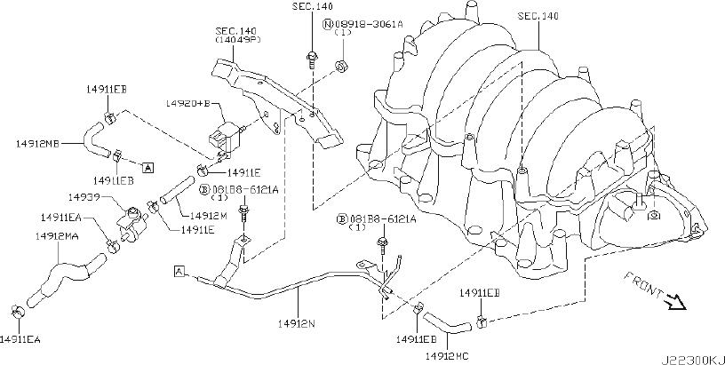 INFINITI M45 Evaporator Control System Pressure Sensor
