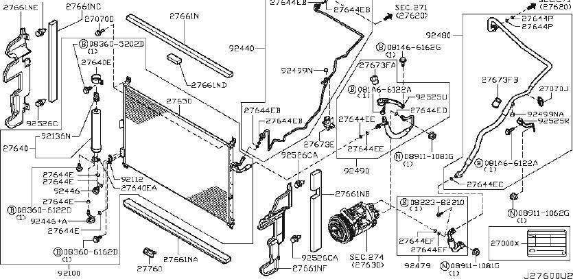 2004 INFINITI A/c refrigerant discharge hose. Tank, liquid