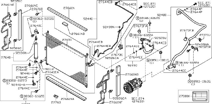 INFINITI M35 A/c refrigerant suction hose (lower). Tank