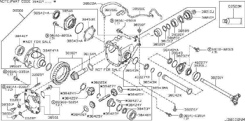 INFINITI M35 Axle Shaft Bearing. Bearing Differential Side