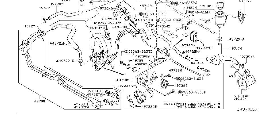 INFINITI M35 Bracket Power Steering Tube. Clamp Hose