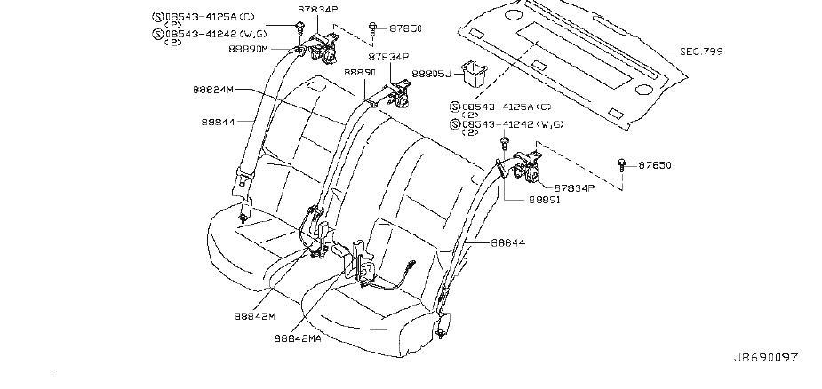 INFINITI M35 Seat Belt Lap And Shoulder Belt (Rear). Trim