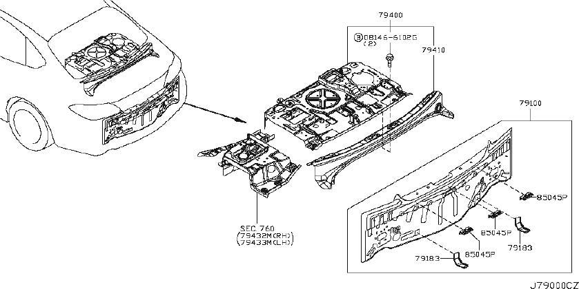 2014 INFINITI M56 SEDAN P/PKG Rear Body Panel Bracket