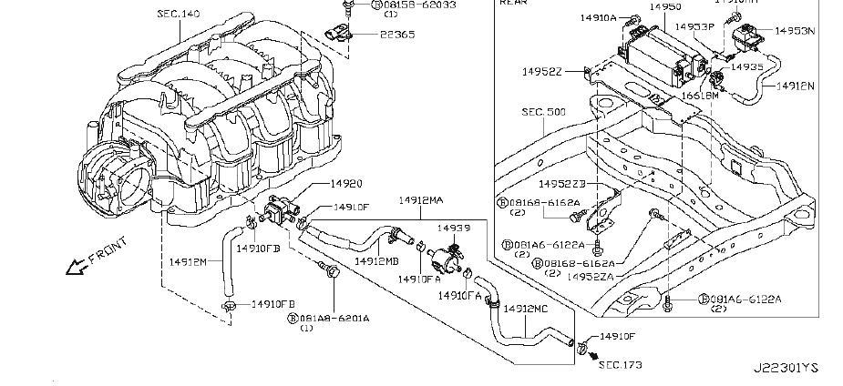 INFINITI QX56 Evaporator Control System Pressure Sensor