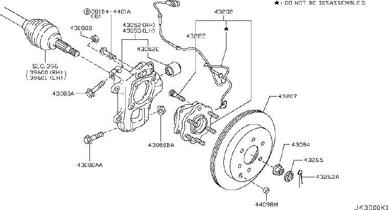2006 INFINITI QX56 Wheel Bearing and Hub (Rear). AWD