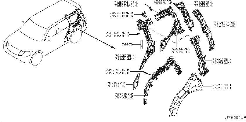 INFINITI QX56 Body C-Pillar Insulator (Rear). FRONT