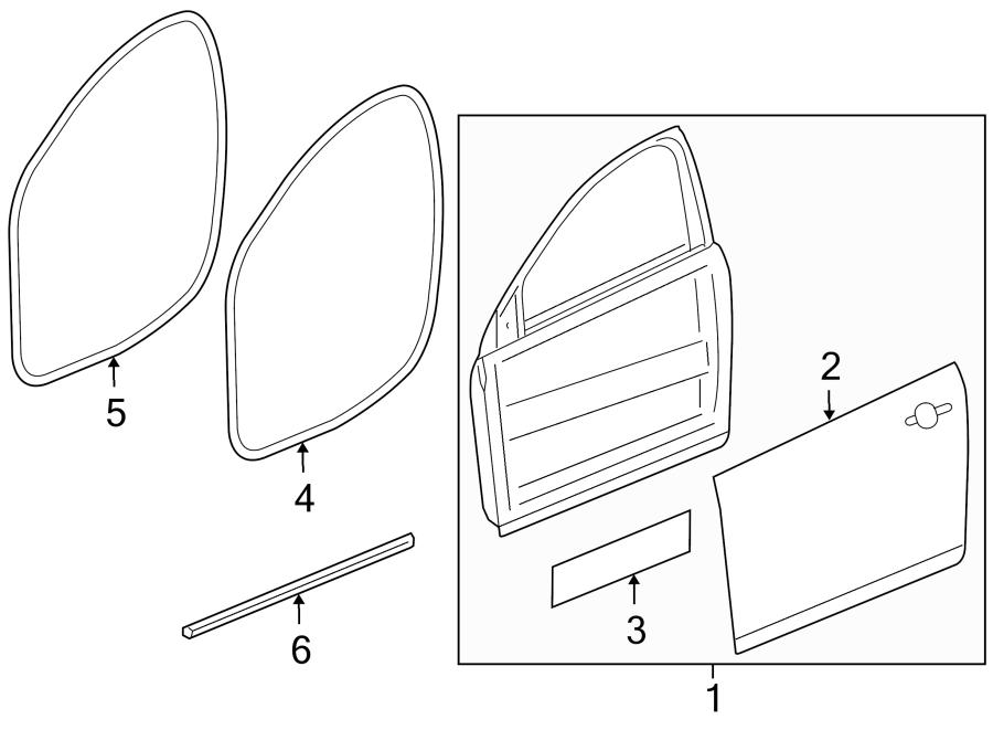 2013 Chevrolet Cruze Door Seal. FRONT, Left, Body