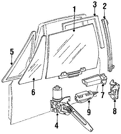 1989 Jaguar XJS Motor and regula. Regulator. Coupe. W