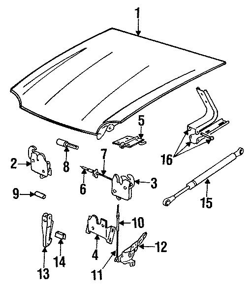 Jaguar XJ6 Hood Lift Support. Locking, VIN, Strut
