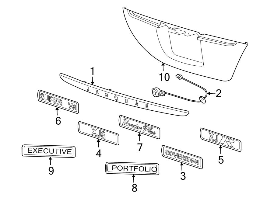 Jaguar XJ8 Deck Lid Finish Panel (Left, Rear). Chrome