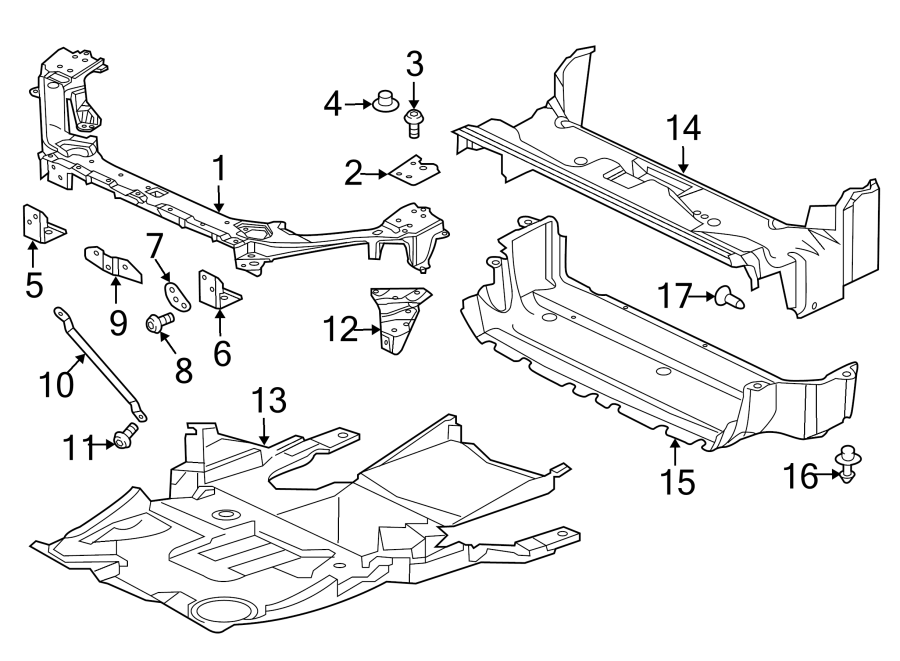 Jaguar XJ Radiator Support Air Deflector (Upper). Upper