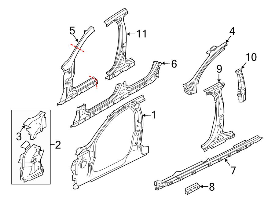 Jaguar XJR Body B-Pillar Reinforcement (Upper). Body B