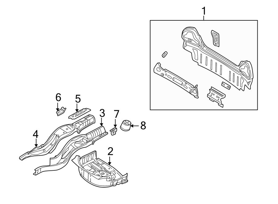 Jaguar S-Type Floor Pan (Rear). Floor Pan. Spare tire