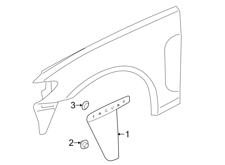 Jaguar XF Fender Molding (Rear). 2012-13, primed. Vent