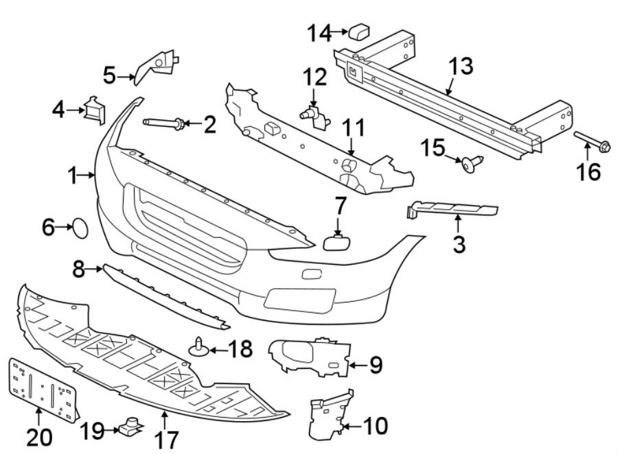 Jaguar XF Bumper Cover. S, w/h'lamp washers, w/park sensor