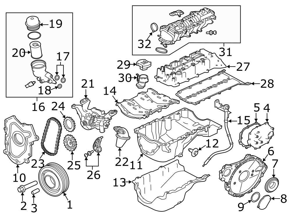 Jaguar XE Engine Oil Filter Adapter Seal. Engine Oil