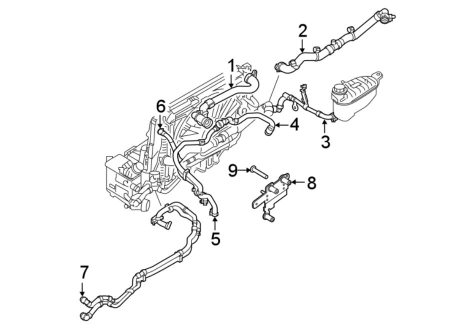 Jaguar F-Type Radiator Coolant Hose (Upper). 2.0 LITER. F