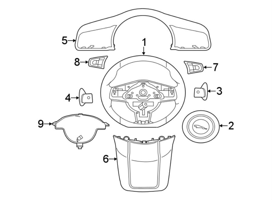 Jaguar F-Type Steering Wheel Wiring Harness. FLAT BOTTOM