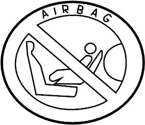 Jaguar XF Air bag label. LABEL-AIRBAG. Warning label