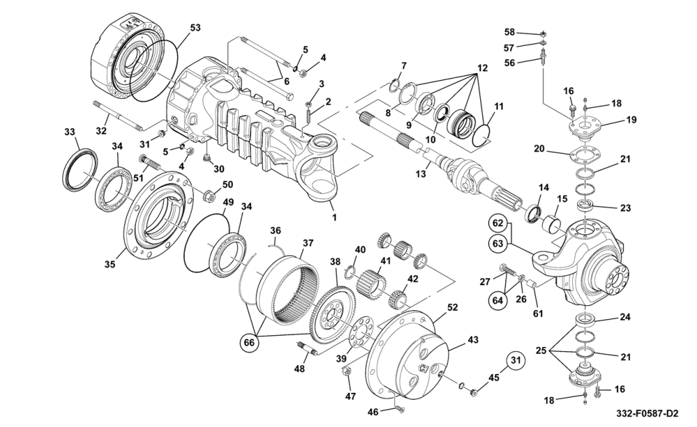 medium resolution of hub and driveshaft assembly 332 f0587 dana