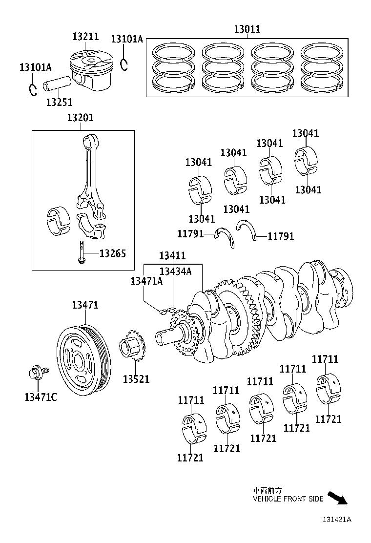 Toyota Highlander Engine Crankshaft Main Bearing. Bearing
