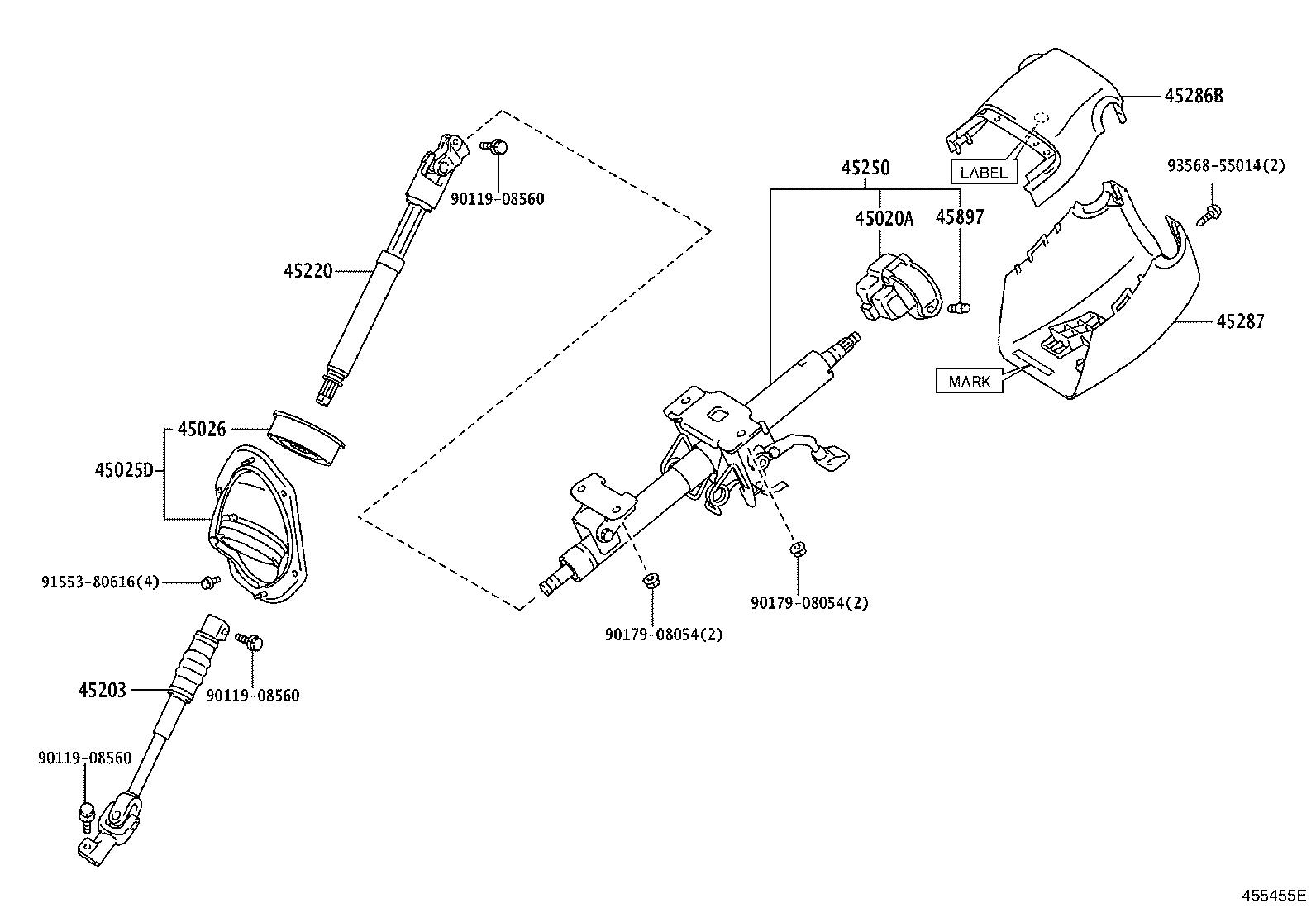 Toyota 4runner Cover Sub Assembly Steering Column Hole