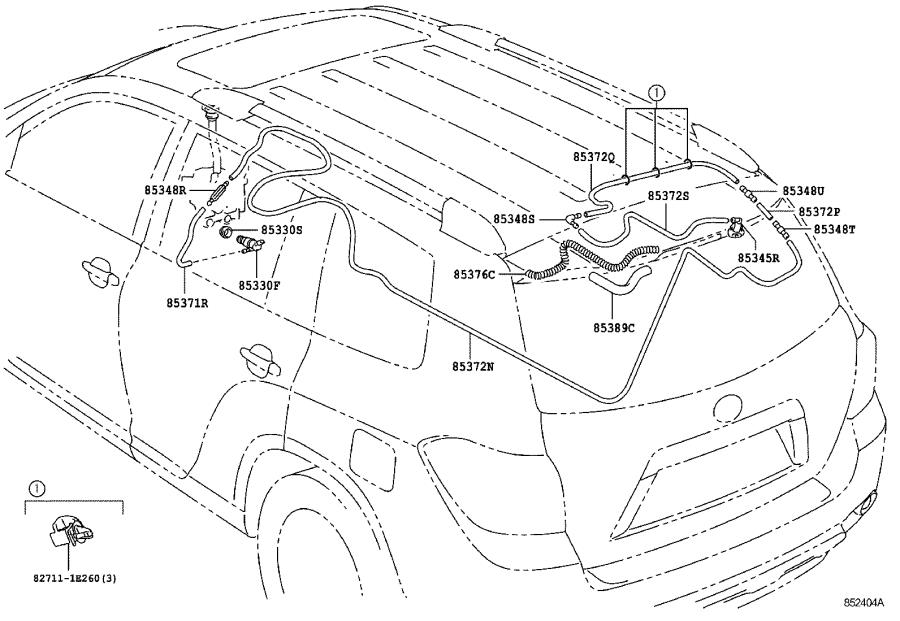 Toyota Highlander Hose, rear washer (from joint to joint