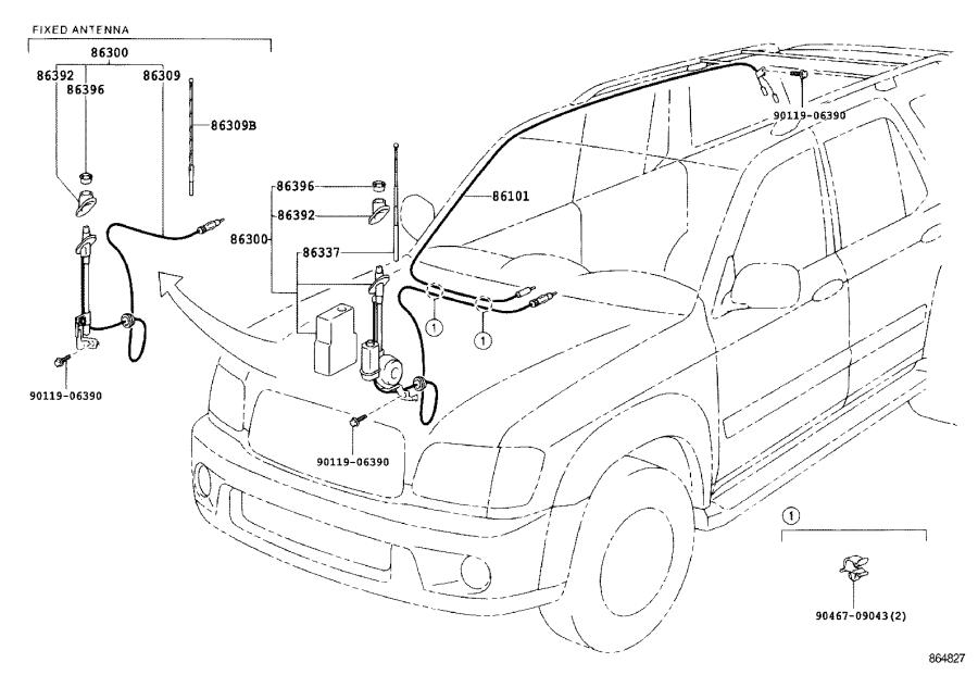 Toyota Sequoia Antenna assembly, with holder. Electrical