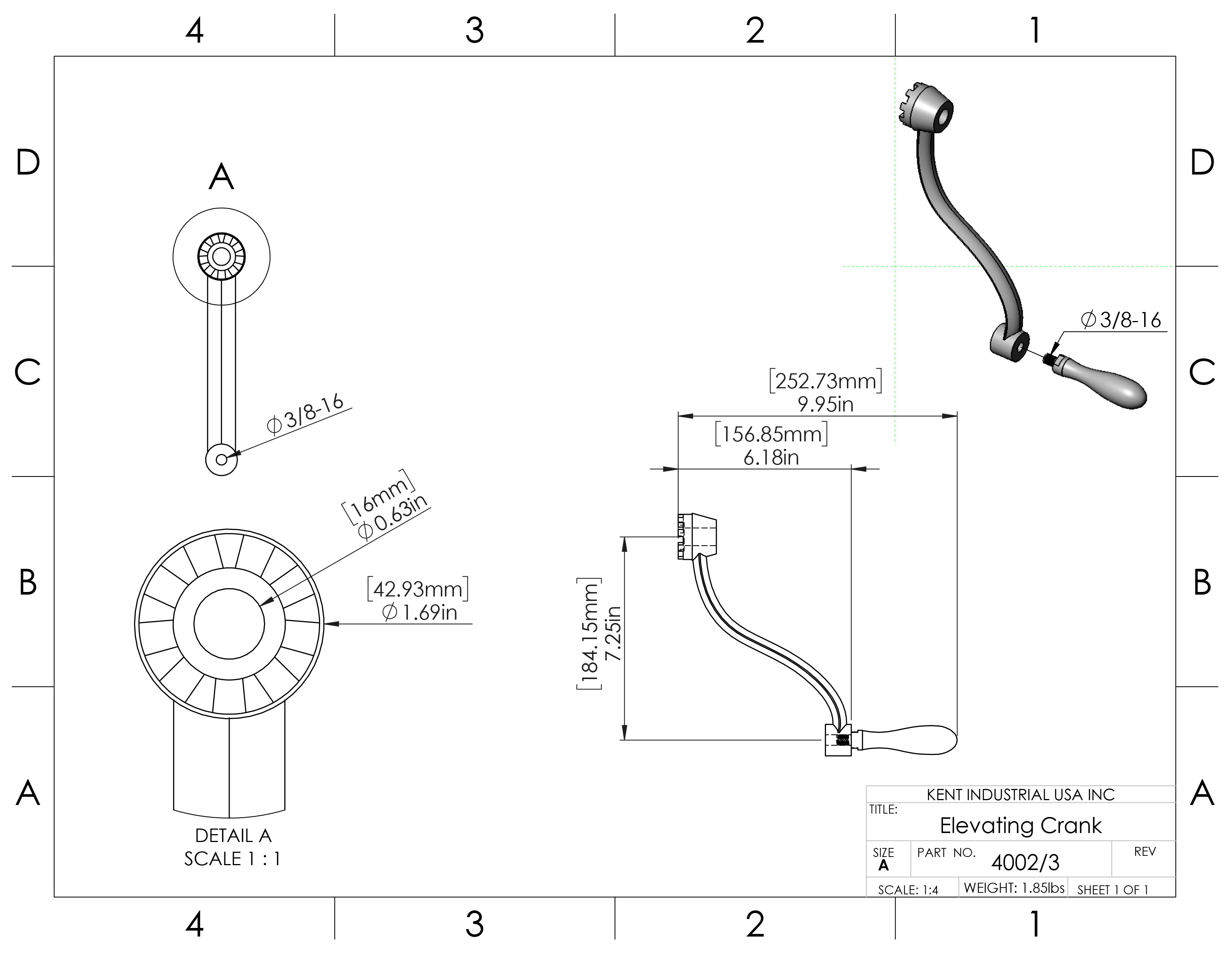 Elevating Crank Handle Assembly for Mills 4002/3