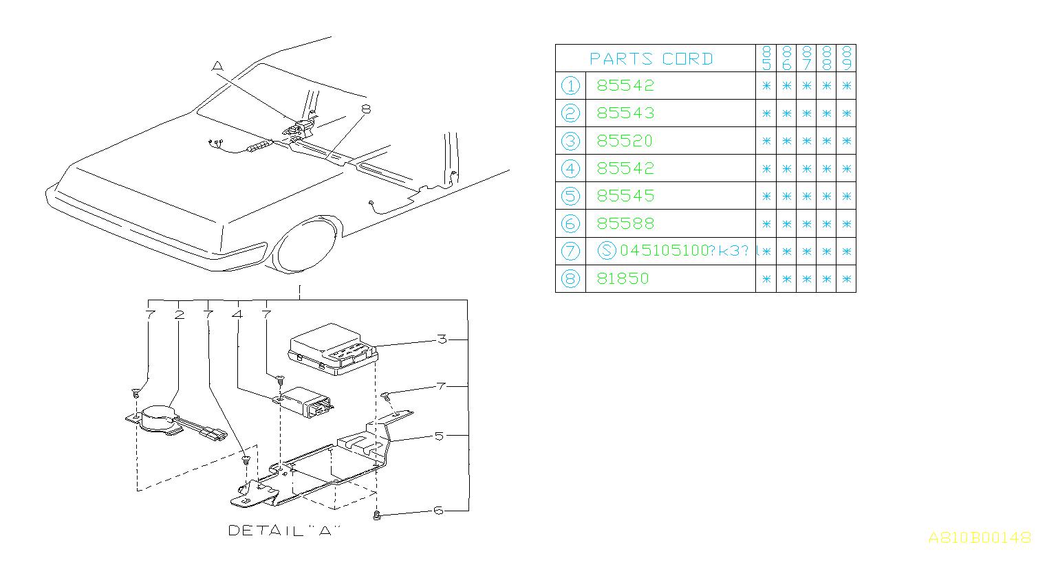 Subaru DL/GL/GL10/RS/RX Relay-power window. Equipment