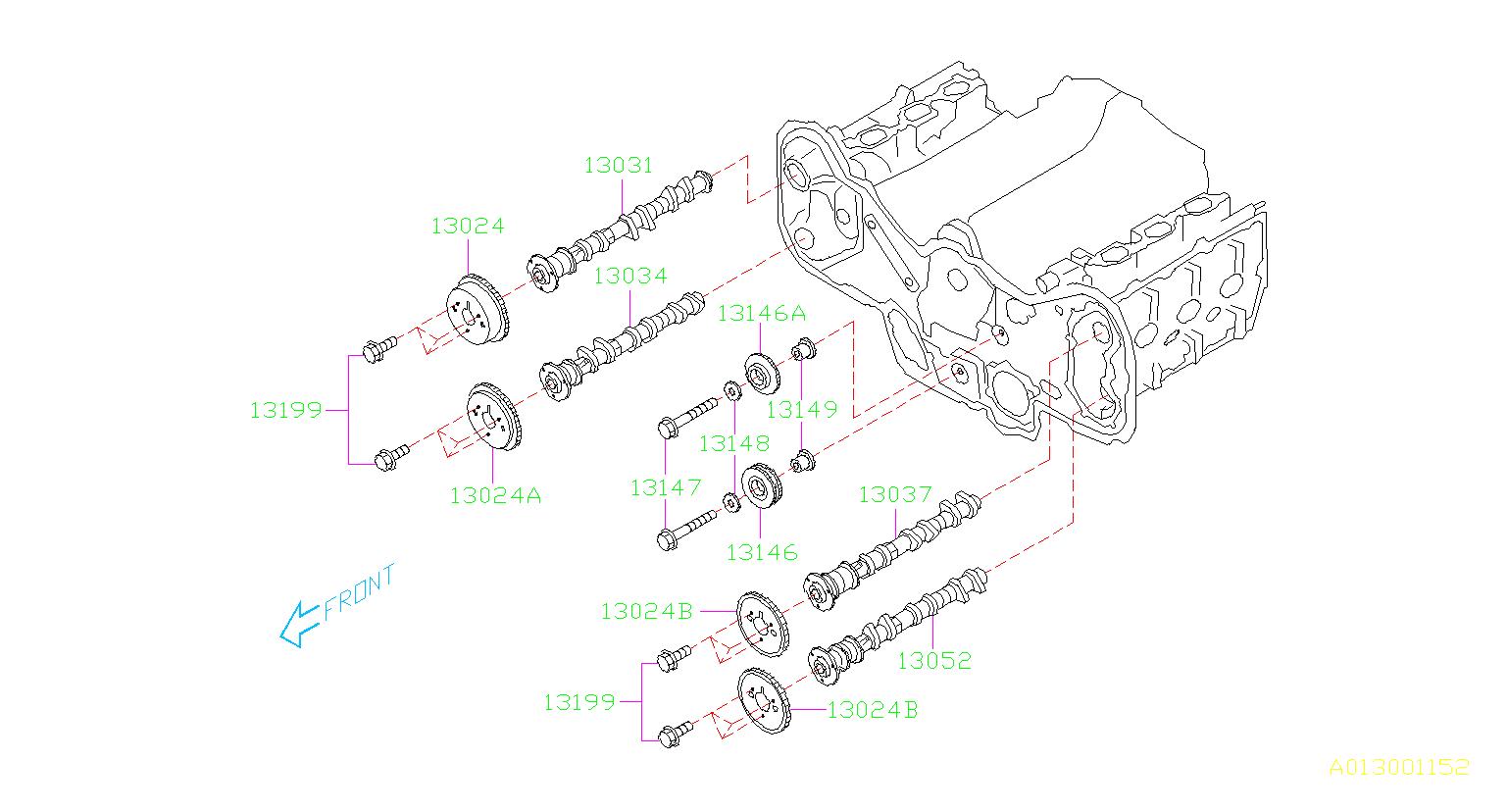 Subaru Legacy Bolt-camshaft, sprocket. Timing, engine