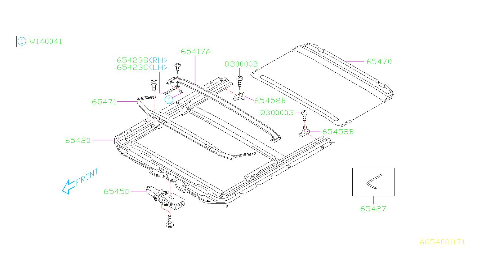 Subaru Baja Guide assembly-rear right. Sun, roof, interior