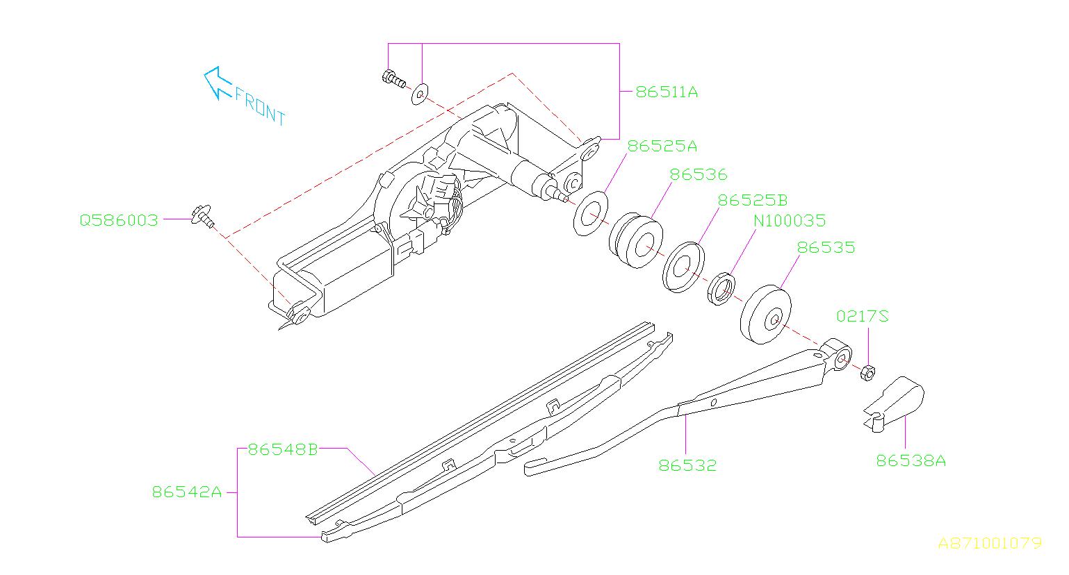 Subaru Legacy Motor assembly-rear wiper. Electrical