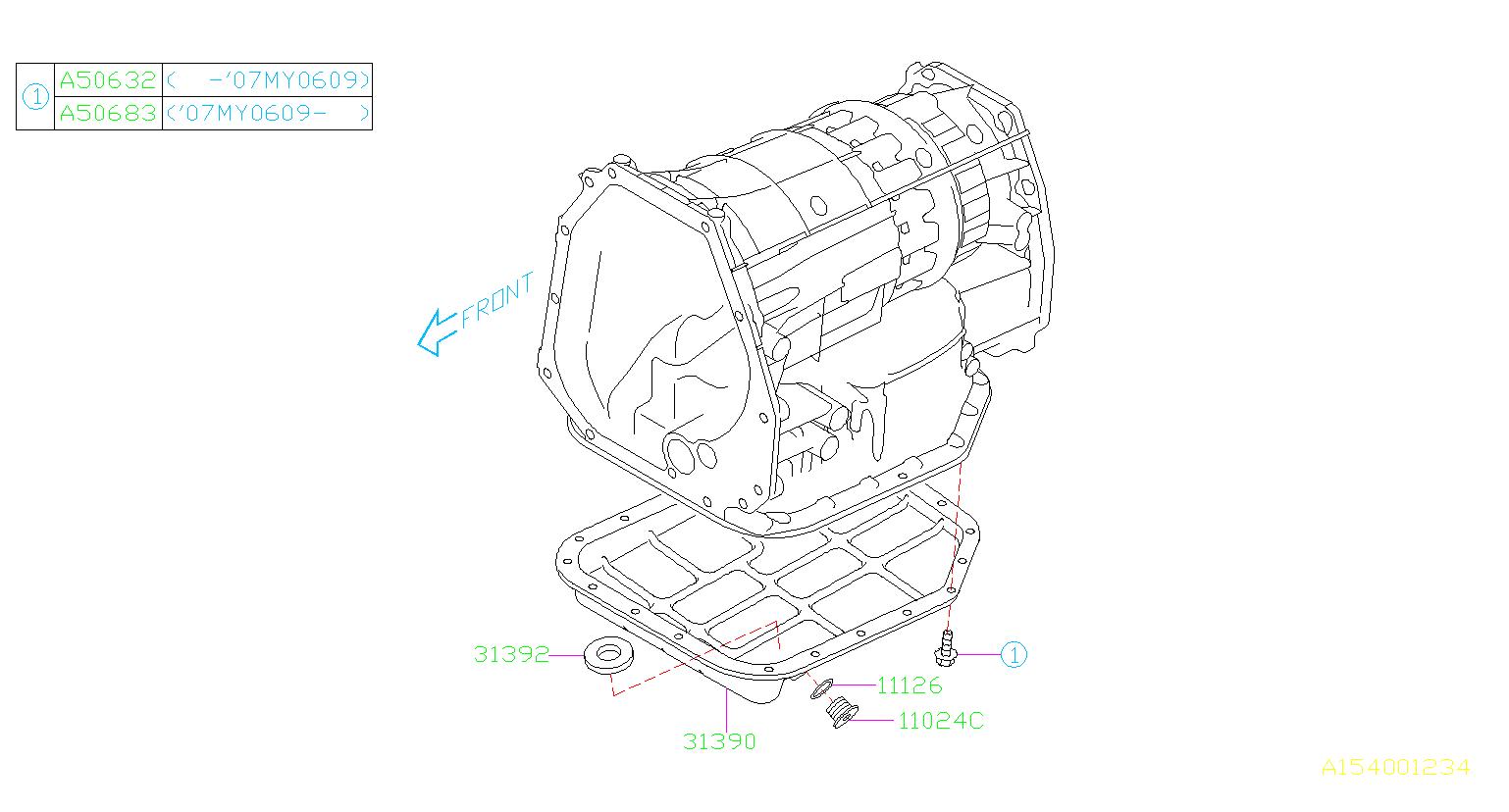 2008 Subaru Outback Plug. Case, converter, transmission