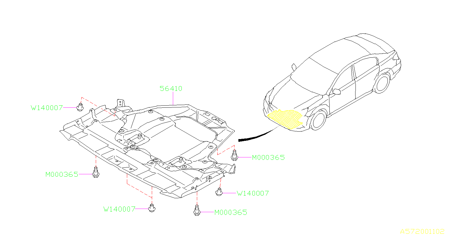 Subaru Legacy Under cover-front. Exhaust, body