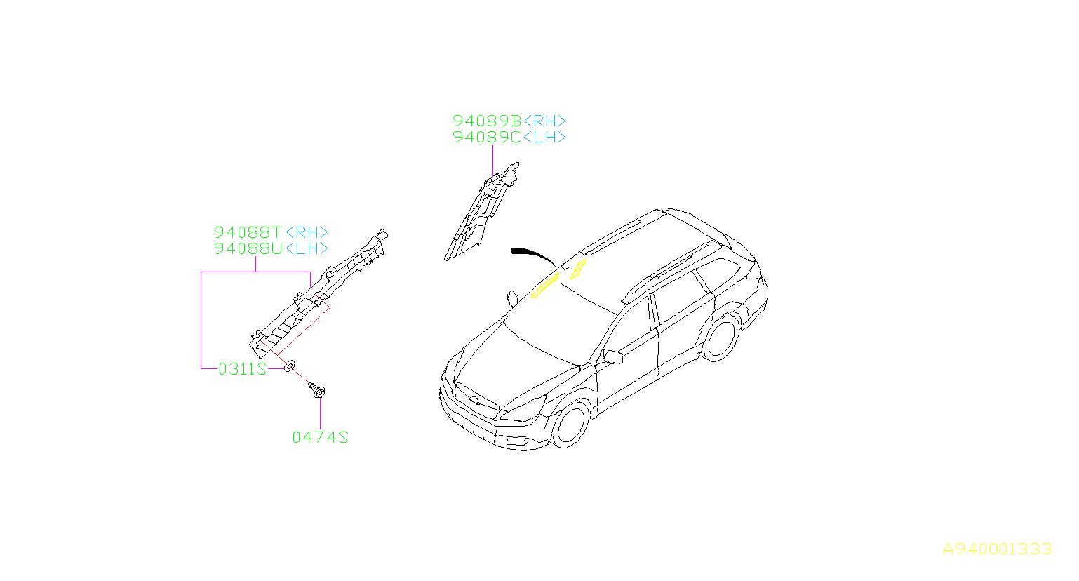 Subaru Outback Pad assembly-rail side, center left. Trim