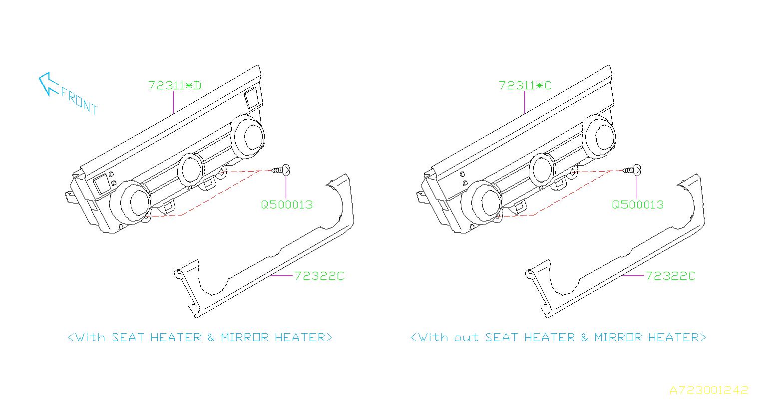 Subaru Legacy Heater control assembly. Manual. Heating