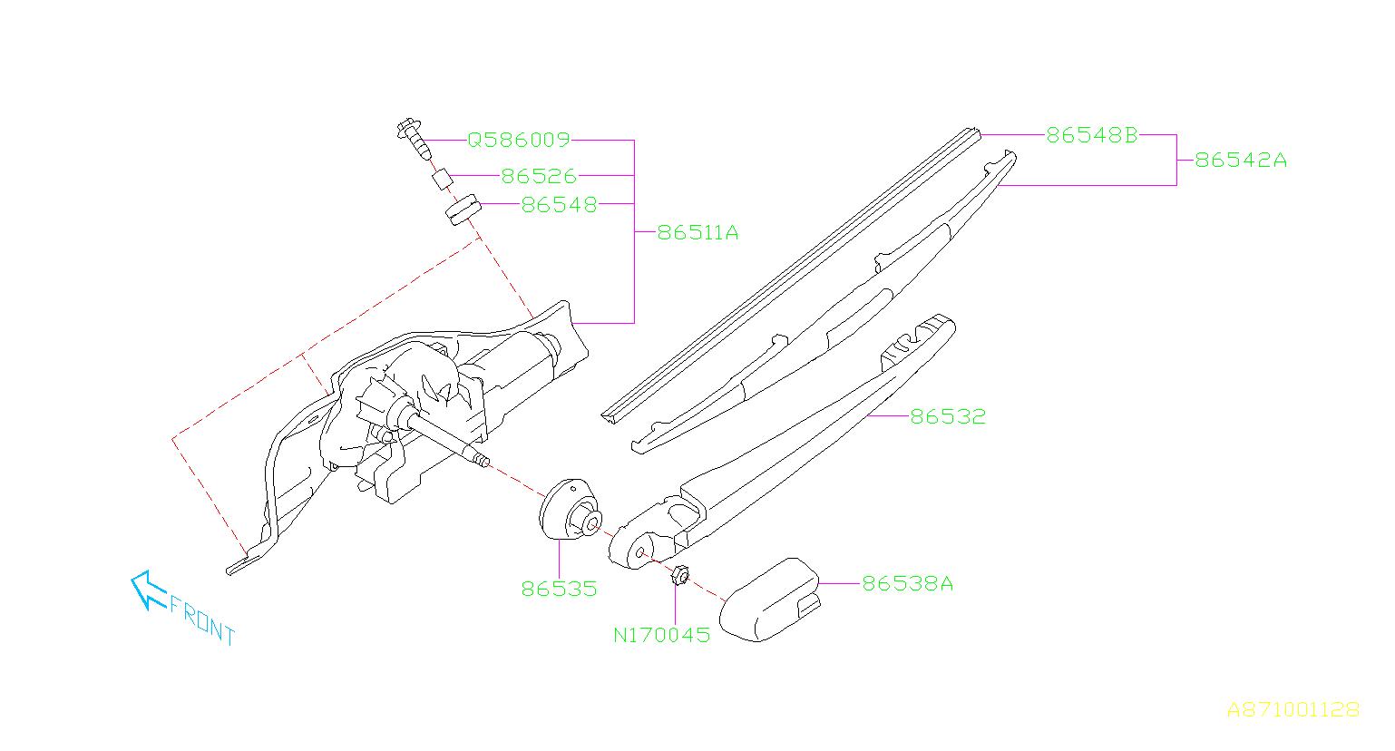 2014 Subaru Blade assembly-rear wiper. Maintenance, blades