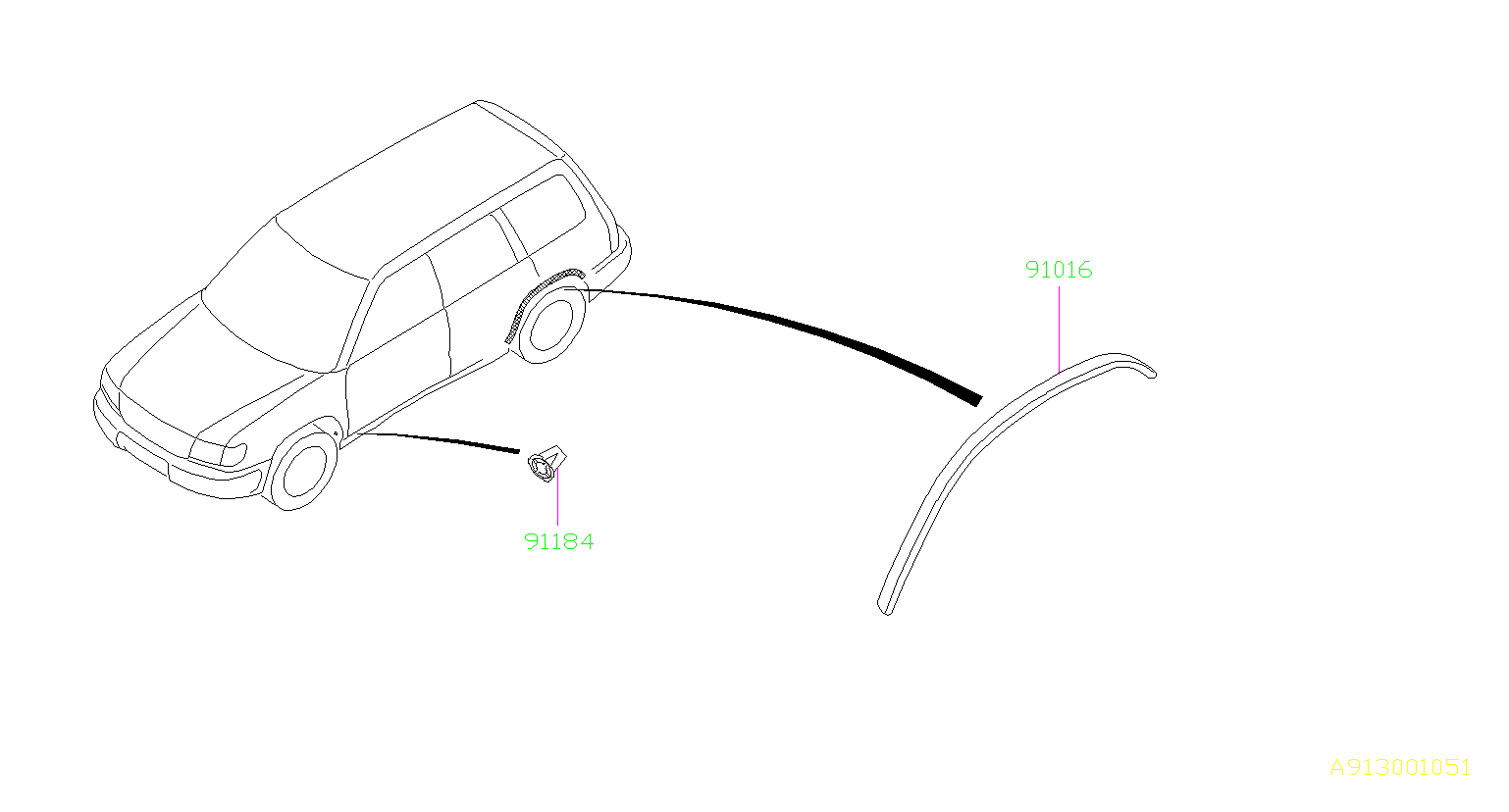 1999 Subaru Forester Protector-rear arch, right. Body