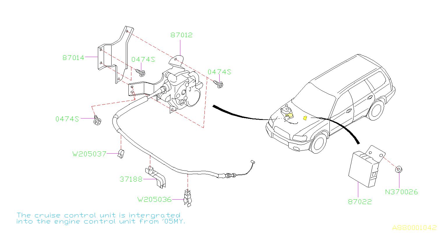 Subaru Forester Clip-accelerator cable. No.1. Cruise