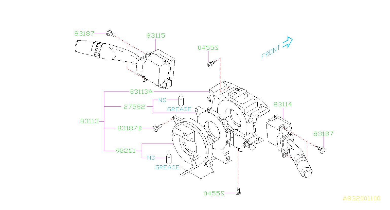 2011 Subaru Forester Sensor-steering angle. Combination