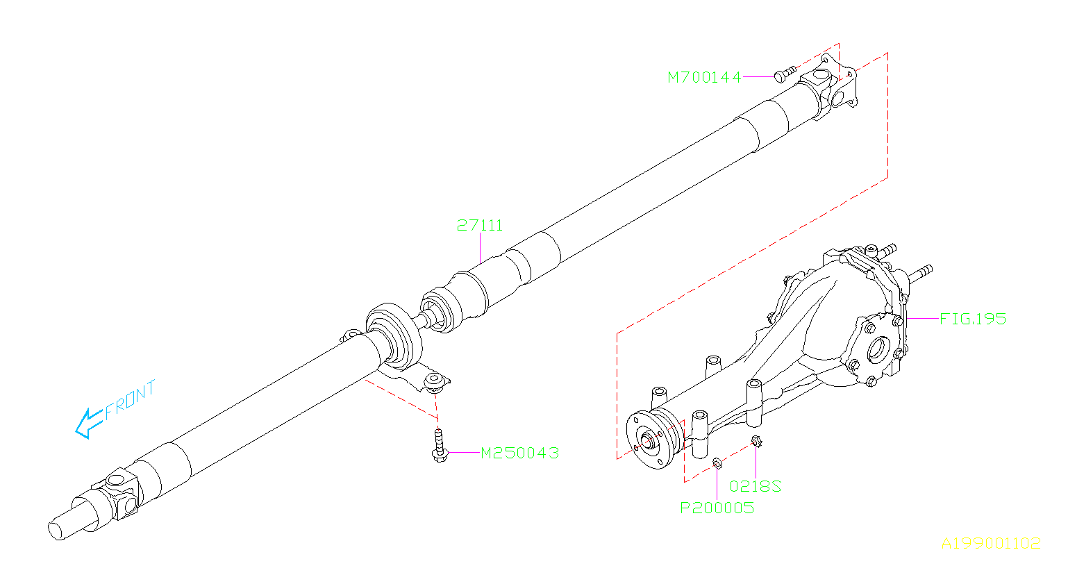 Subaru Forester Propeller shaft assembly. Driveline