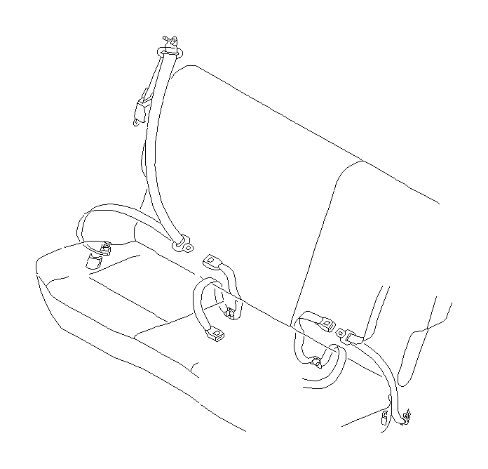 Subaru Impreza Seat belt set-rear right. Interior