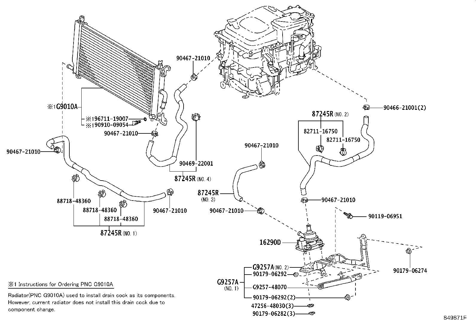2006 Lexus Drive Motor Inverter Cooler Water Pump. Coolant