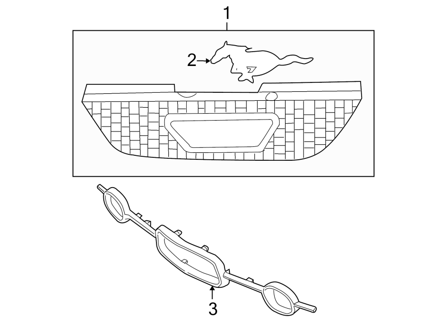 Ford Mustang Grille (Upper). Radiator, COMPONENTS, Bumper