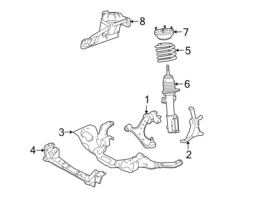 Ford Mustang Suspension Subframe Crossmember. Base, GT