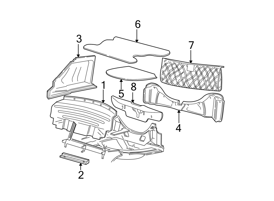 Ford Mustang Panel bracket. (Front). CONVERTIBLE. BODY